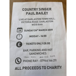 Country Singer Paul Bailey at Darlaston Town Hall on Sunday 24th March