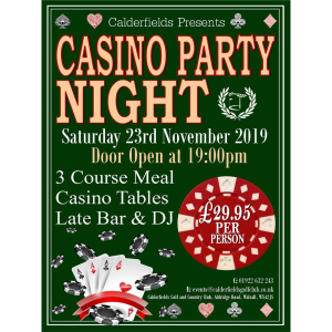 Casino Party Night @ Calderfields!