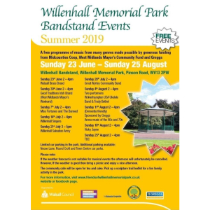 Willenhall Memorial Park Bandstand Events - Summer 2019 - FREE EVENTS!