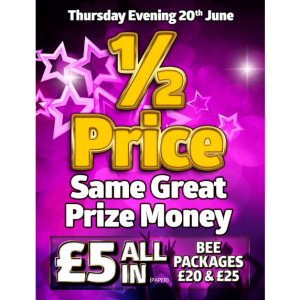 Half Price Same Great Prize Money at Apollo