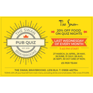 Monthly Quiz Nights At The Swan, Braybrooke