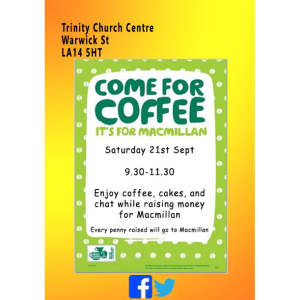 Macmillan Coffee Morning at Trinity Church Centre