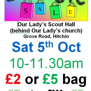 Jumble Sale - Our Lady's Scout Hall 5th October 10-11.30am