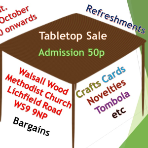 Tabletop Sale  Saturday 19th October 11.30 onwards