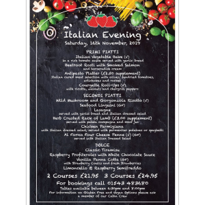 Italian night at The Strawberry Cabin
