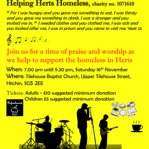 Praise and Worship Concert in aid of Helping Herts. Homeless Charity No. 1071610