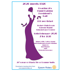 Roaring 20's Presidents Ball with #Epsom Rotary Club – support @EPSOMRDA @MyTime4YC
