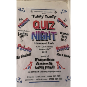 Twenty Twenty Quiz Night at Hawcoat Park