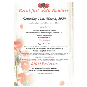 Breakfast with Bubbles - The Strawberry Cabin