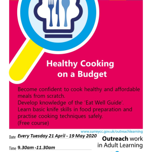 Healthy Cooking on a Budget 5 week course with @EpsomLC