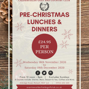 Pre Christmas Lunches and Dinners
