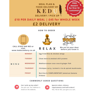 Meal Plan and Food Delivery Service available at Kedu Cookery School & Chef Training Centre in Walsall