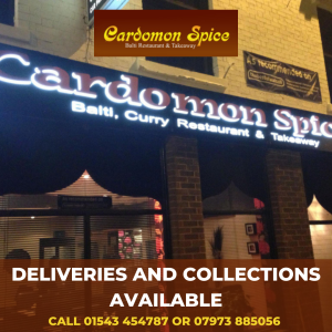 Deliveries and Collections available at Cardomon Spice