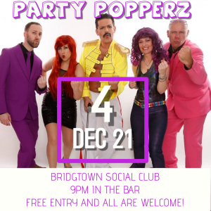 The Party Popperz LIVE at the Bridgtown Social Club