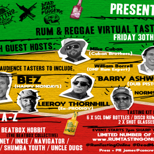Rum Tasting Online x Dead Man's Fingers with Bez (Happy Mondays), Dub Pistols + more