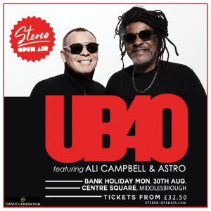 UB40 Featuring Ali Campbell and Astro at Centre Square, Middlesbrough