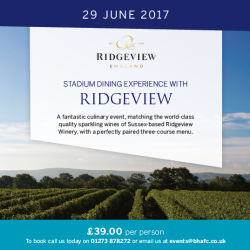 Ridgeview Wine Pairing Dinner @ BHAFC Amex Community Stadium
