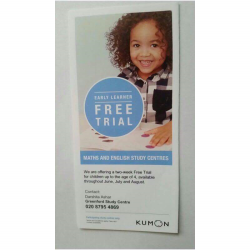 FREE TRIAL FOR UNDER 4'S (EARLY LEARNERS), AT GREENFORD KUMON, UNTIL AUGUST 2017.