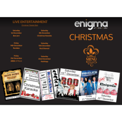 Christmas Menu and All The Live Music at ENIGMA!