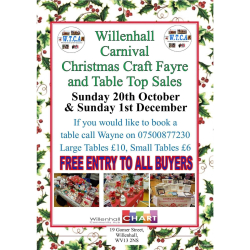 Willenhall Carnival Christmas Craft Fayre and Table Top Sales