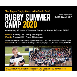 A Rugby Summer Camp  like no other at @suttonEpsomRFC @CuffandGoughLLP