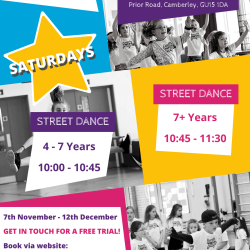 Saturday Street Dance, ages 7+ yrs, Camberley, Surrey