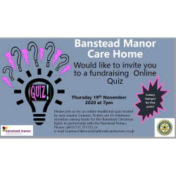 Banstead Rotary charity fund raising quiz with @BansteadManor