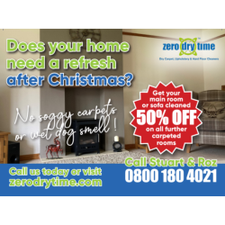 Get your main room or sofa cleaned and get 50% off all further carpeted rooms at Zero Dry Time Walsall