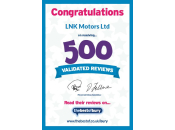 LNK Motors 500 Validated Reviews Certificate