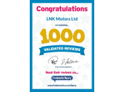 LNK Motors 1000 Validated Reviews Certificate