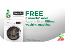FREE 6 MONTHS ARIEL LIQUID WITH AN ULTIMA WASHING MACHINE