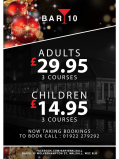 3 Course Christmas Day Lunches at Bar10 for just £29.95 for adults/£14.95 for children