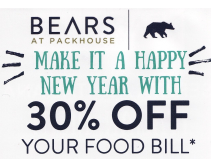 30% Off Food Bill at Bears