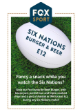 Burger and a Pint just £12 during any Six Nations match
