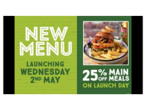 25% off new menu on launch day at Horse & Jockey Walsall Wood
