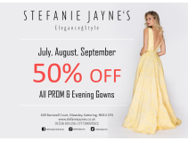 50% off ALL PROM & Evening Gowns.