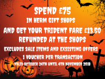 FREE HERM TRIDENT WHEN YOU SPEND £75 IN HERM GIFT SHOPS THIS HALLOWEEN