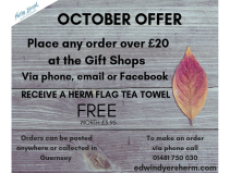 FREE HERM FLAG TEA TOWEL WHEN YOU SPEND OVER £20 AT GIFT SHOPS