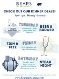 Fantastic Value Dinner Deals at Bears