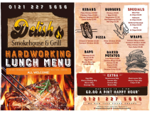 Lunch Menu available at Delish Steakhouse & Grill in Walsall