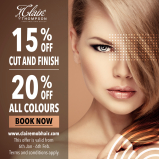 20% off all colours and 15% off cut and finish at Claire's Mobile Hairdressing
