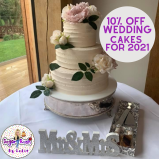 10% off wedding cakes booked for 2021 at Sugar Rush by Sadie