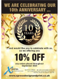 10% off to celebrate Xpress Design & Print's 10th anniversary!