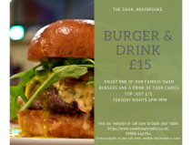 Burger & A Drink for £15 at The Swan, Braybrooke