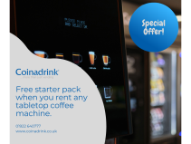 FREE starter pack when you rent any tabletop office coffee machine from Coinadrink Limited!