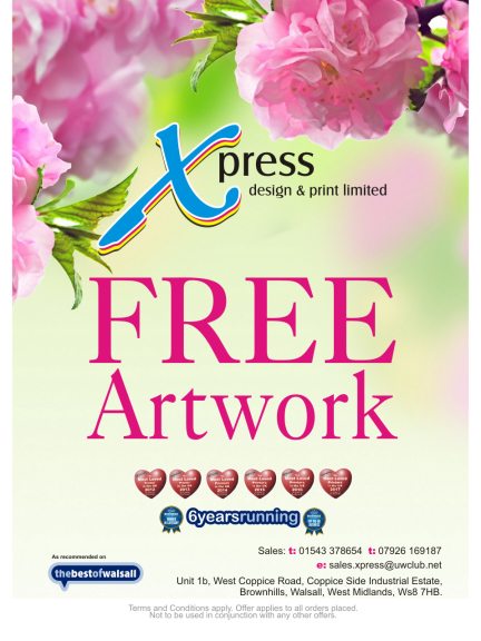 FREE Artwork on all orders at Xpress Design and Print