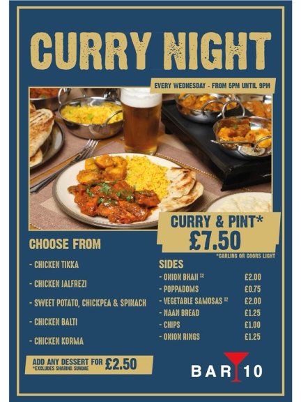 Curry & Pint Night for just £7.50 every Wednesday @ Bar 10 Walsall