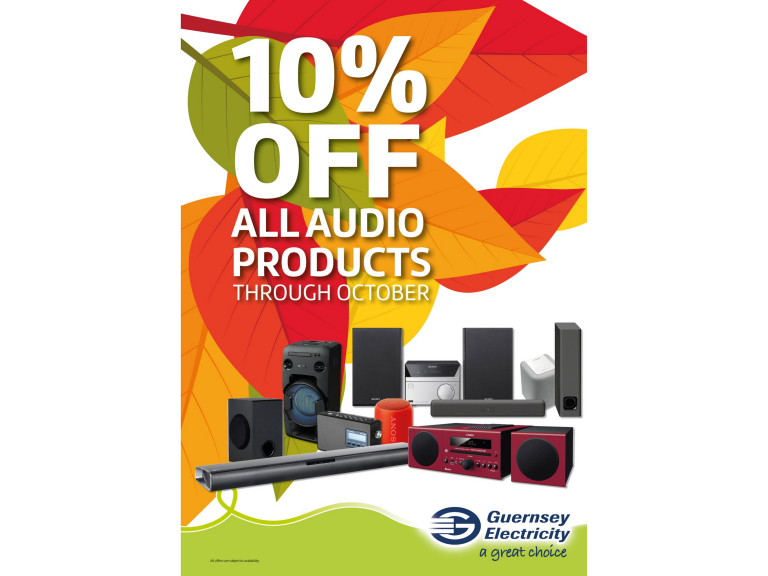 10% OFF ALL AUDIO PRODUCTS AT GUERNSEY ELECTRICITY