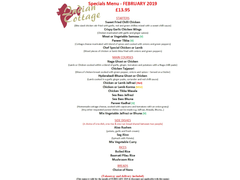 INDIAN COTTAGE SPECIAL OFFER MENU FOR FEBRUARY