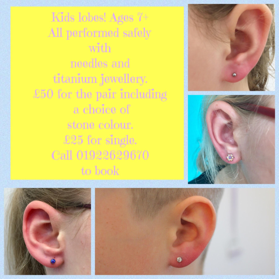 Kids Ear Piercing £50 for the pair, £25 for a single lobe